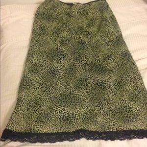 DOLLFACE 90s grunge green leopard skirt